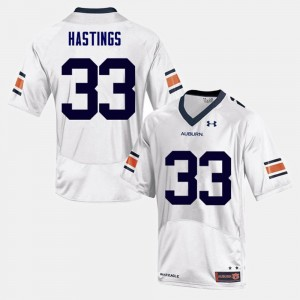 #33 Will Hastings Auburn Tigers College Football Mens Jersey - White