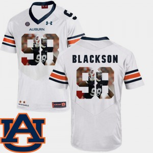 #98 Angelo Blackson Auburn Tigers Pictorial Fashion Football Mens Jersey - White