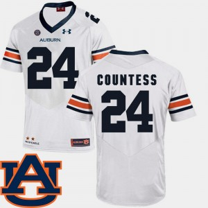 #24 Blake Countess Auburn Tigers Mens SEC Patch Replica College Football Jersey - White