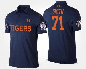 #71 Braden Smith Auburn Tigers Bowl Game Mens Peach Bowl Polo - Navy
