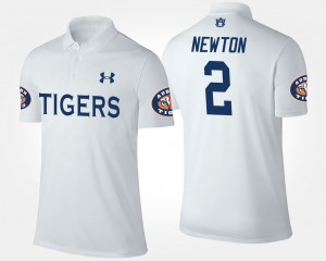 #2 Cam Newton Auburn Tigers Men Polo - White