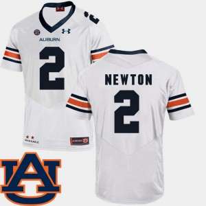 #2 Cam Newton Auburn Tigers College Football Men's SEC Patch Replica Jersey - White
