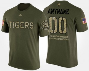 #00 Auburn Tigers Men Military Short Sleeve With Message Customized T-Shirt - Camo