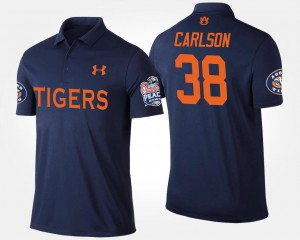 #38 Daniel Carlson Auburn Tigers Men's Bowl Game Peach Bowl Polo - Navy