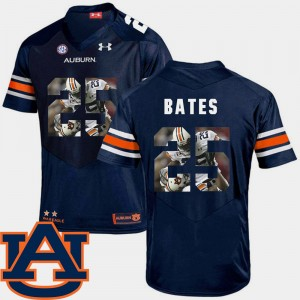 #25 Daren Bates Auburn Tigers For Men Football Pictorial Fashion Jersey - Navy