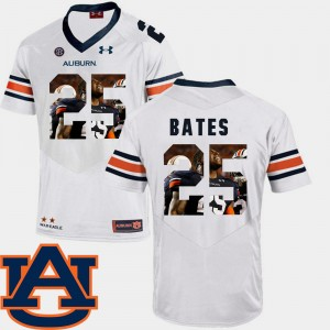 #25 Daren Bates Auburn Tigers For Men's Pictorial Fashion Football Jersey - White