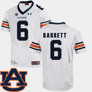 #6 Devan Barrett Auburn Tigers For Men SEC Patch Replica College Football Jersey - White
