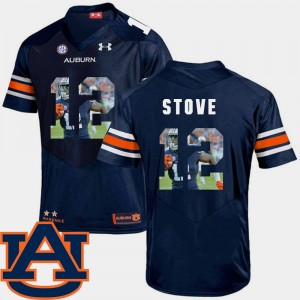 #12 Eli Stove Auburn Tigers Pictorial Fashion Football For Men Jersey - Navy