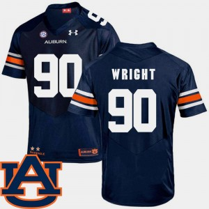 #90 Gabe Wright Auburn Tigers For Men College Football SEC Patch Replica Jersey - Navy