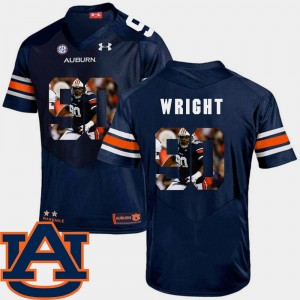 #90 Gabe Wright Auburn Tigers Mens Pictorial Fashion Football Jersey - Navy