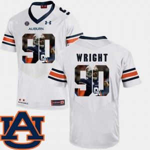 #90 Gabe Wright Auburn Tigers Football Pictorial Fashion For Men Jersey - White