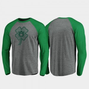 Auburn Tigers St. Patrick's Day Raglan Long Sleeve Celtic Charm Men T-Shirt - Heathered Gray
