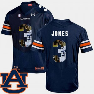 #3 Jonathan Jones Auburn Tigers Mens Pictorial Fashion Football Jersey - Navy