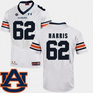 #62 Josh Harris Auburn Tigers College Football SEC Patch Replica Men Jersey - White