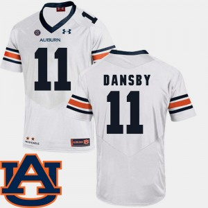 #11 Karlos Dansby Auburn Tigers For Men's College Football SEC Patch Replica Jersey - White