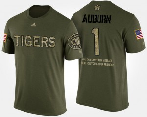 #1 Auburn Tigers Military Men No.1 Short Sleeve With Message T-Shirt - Camo