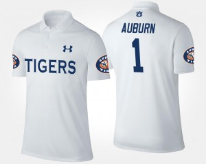 #1 Auburn Tigers For Men No.1 Short Sleeve Polo - White