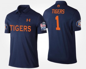 #1 Auburn Tigers Mens Bowl Game No.1 Peach Bowl Polo - Navy