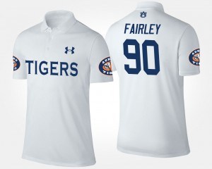 #90 Nick Fairley Auburn Tigers For Men's Polo - White