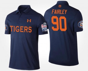 #90 Nick Fairley Auburn Tigers Bowl Game Peach Bowl For Men Polo - Navy