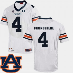 #4 Noah Igbinoghene Auburn Tigers College Football For Men SEC Patch Replica Jersey - White