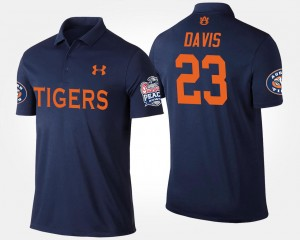 #23 Ryan Davis Auburn Tigers Bowl Game Mens Peach Bowl Polo - Navy
