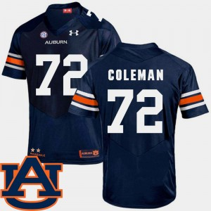 #72 Shon Coleman Auburn Tigers Mens College Football SEC Patch Replica Jersey - Navy