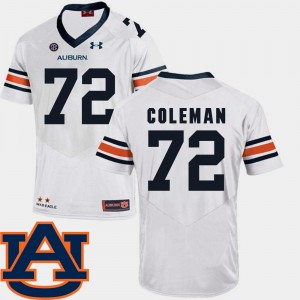 #72 Shon Coleman Auburn Tigers Mens SEC Patch Replica College Football Jersey - White
