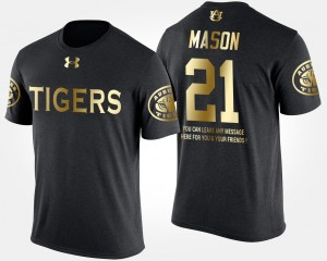 #21 Tre Mason Auburn Tigers For Men Gold Limited Short Sleeve With Message T-Shirt - Black