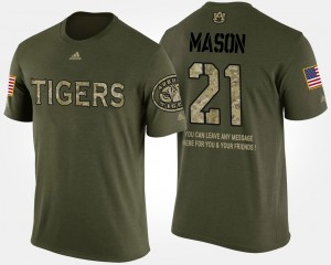 #21 Tre Mason Auburn Tigers Men Military Short Sleeve With Message T-Shirt - Camo