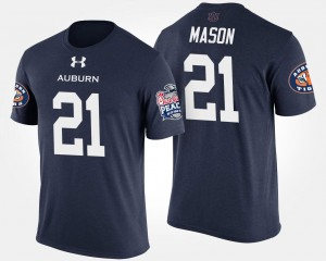 #21 Tre Mason Auburn Tigers For Men's Peach Bowl Bowl Game T-Shirt - Navy