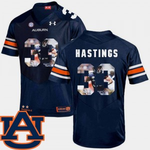 #33 Will Hastings Auburn Tigers Football Pictorial Fashion For Men's Jersey - Navy