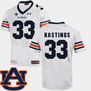 #33 Will Hastings Auburn Tigers College Football SEC Patch Replica For Men Jersey - White