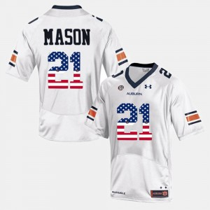 #21 Tre Mason Auburn Tigers US Flag Fashion For Men Jersey - White