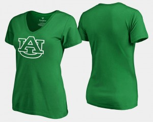 Auburn Tigers Women's St. Patrick's Day White Logo T-Shirt - Kelly Green