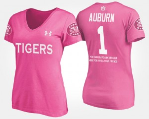 #1 Auburn Tigers For Women's No.1 Short Sleeve With Message T-Shirt - Pink