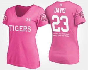 #23 Ryan Davis Auburn Tigers Womens With Message T-Shirt - Pink
