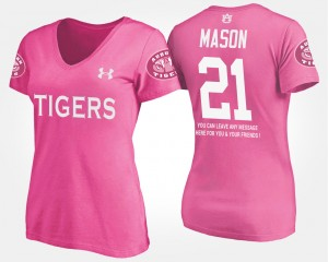 #21 Tre Mason Auburn Tigers For Women With Message T-Shirt - Pink